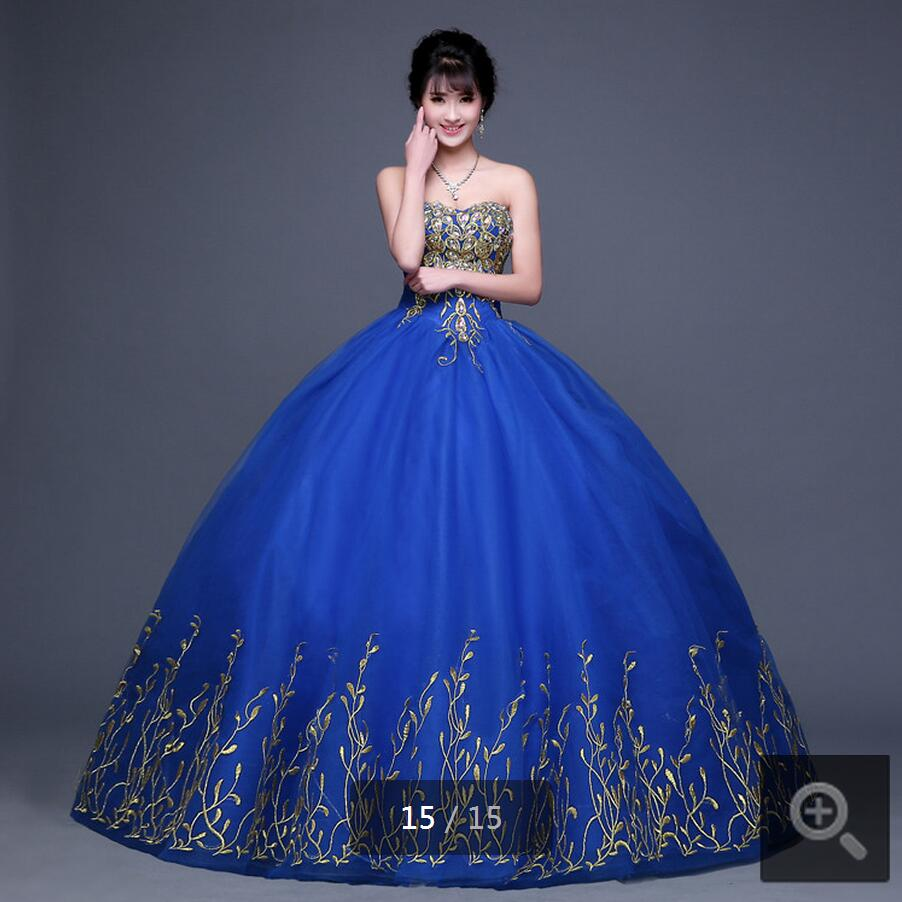 2016 royal blue hot sale ball gown embroidery wedding dresses strapless princess crystals puffy wedding gowns(China (Mainland))
