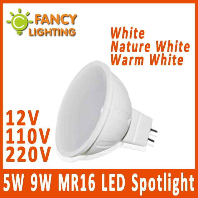 5 pieces/lot MR16 led bulb led spotlight Energy Saving 5W 9W 12V 110V 220V High Power Led light bulbs MR16 led Lamp Bombilla(China (Mainland))