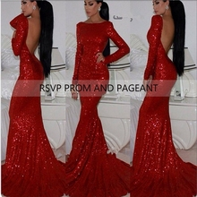 Sexy Long Sleeve Open Back Mermaid Long Red Evening Dress Sequin Formal Evening Gowns(China (Mainland))