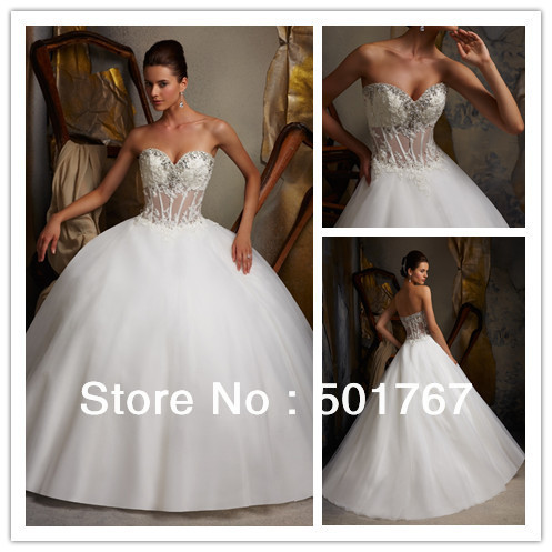 High quality ball gown satin see through wedding dress for See through corset top wedding dress