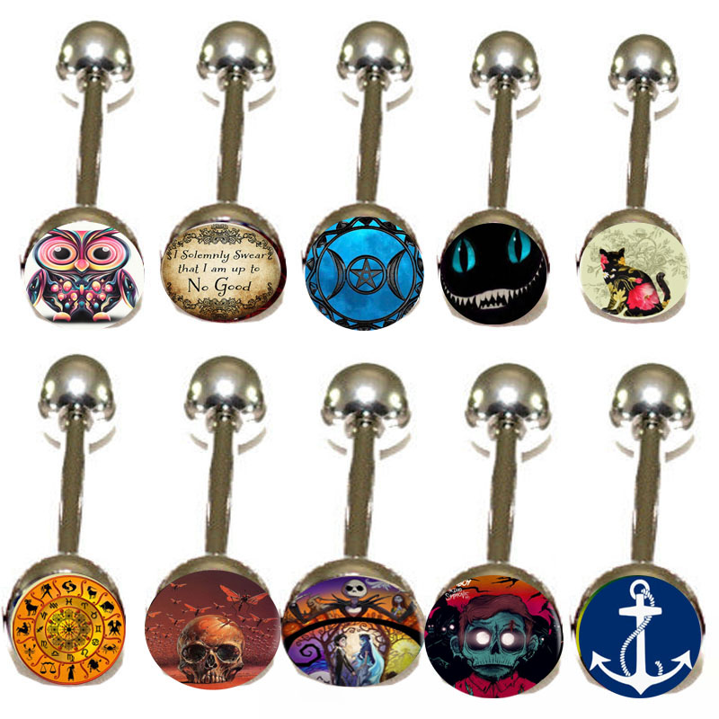 300pcs Metal Tongue Rings Steel Bars Barbells Funny Nasty Wording 10 Logo Picture BOdy jewelry nipple piercing(China (Mainland))