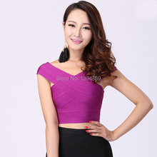 High quality knitted red purple bule bandage top off shoulder fashion tank top for women hip busiter crop Vestidos feminios(China (Mainland))