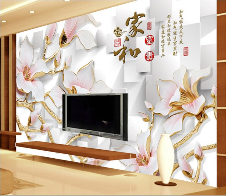 can customized Large murals 3d mural wallpaper Chinese style TV setting wall stickers bedroom environmental protection, flower(China (Mainland))