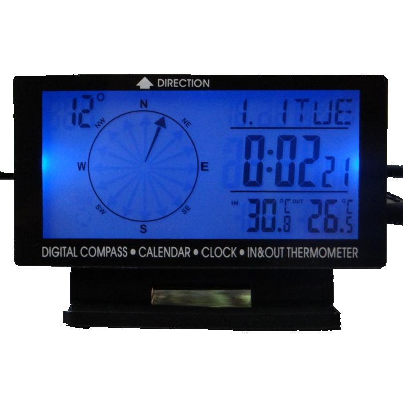Digital Car Inside/Outside Thermometer 5in1 Blue Backlight Car Compass With Indoor/Outdoor Thermometer & Clock Calendar Hot Sale(China (Mainland))