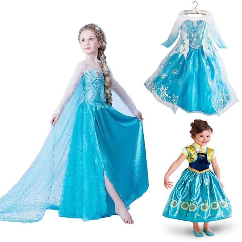 New 2015 Summer Style Baby Girls Dresses Princess Fever anna elsa dress Cosplay costume Kids cartoon girl dresses for children(China (Mainland))