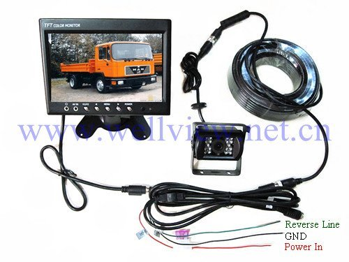 Reversing Camera System with 800*480 7inch digital monitor and night vision CCD camera 150 degree,24V power in