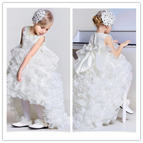 New big bow girls pageant dress ball dress kids frock designs for 2,3,4,6,8,10,12T flower girl dresses with long train KD1538(China (Mainland))