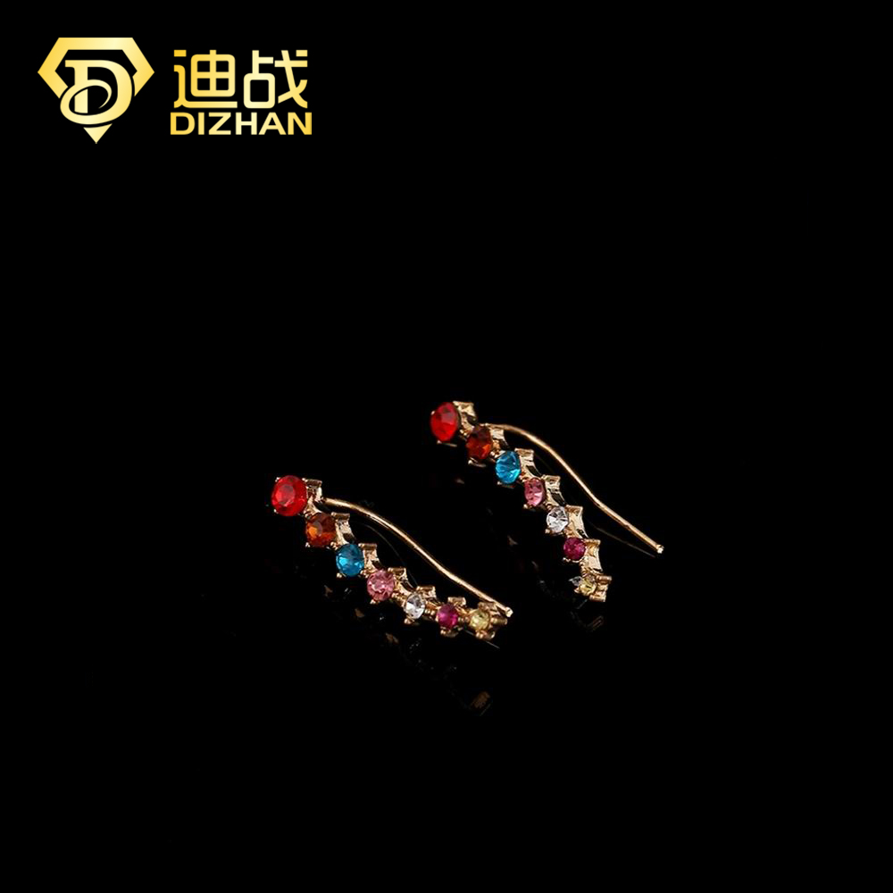 Hot Sale Ear Cuff Wrap Colorful Crystal Earrings High Quality Summer Ear Cuff Piercing Clip Earrings Jewelry For Women SE128(China (Mainland))