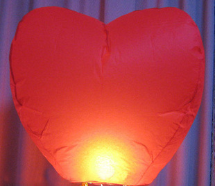 20 Pieces/Lot Heart Shape Red Sky Lanterns Romantic Wishing Lamp Flying Sky Lantern For Lover