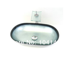 Oval Semi Counter Sinks Single Hole Construction&Real Estate Kitchen&Bath Fixtures Bathroom Sinks Mounting Ring Glass Basin Set