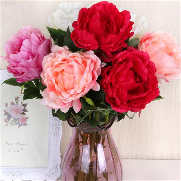 """Silk Peonies 65cm/25.59"""" Length Artificial Flowers Single Stem Spring Peony White/Pink/Hot Pink/Red for Wedding Centerpiece(China (Mainland))"""