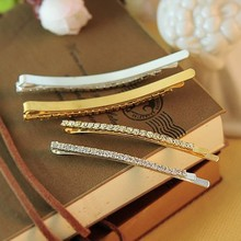 New Fashion Simple Double Rows Shine Crystal Silver Hairpins Barrette Hair Jewelry Wedding Hair Accessories for