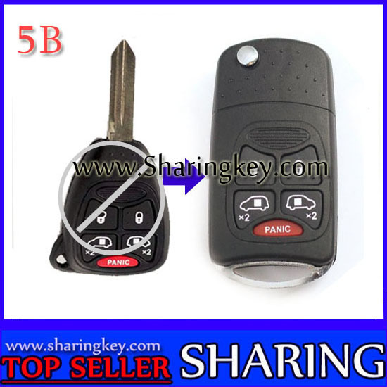Remodeling Flip key case For Chrysler 5 Button Key Fob With Panic Button10 piece lot free