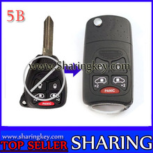 10 piece/lot Remodeling Flip key case For Chrysler 5 Button Key Fob With Panic Button