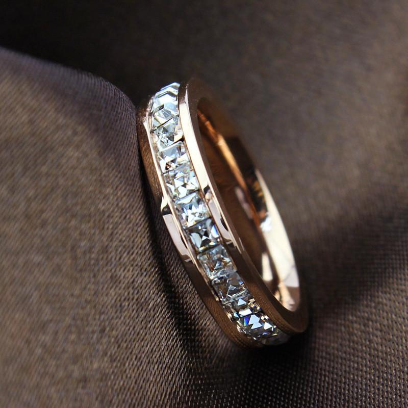 Geometric Design Women Fashion Wedding Ring Rose Gold Ring Titanium Steel Rings For Women Summer Engagement Jewelry R044(China (Mainland))