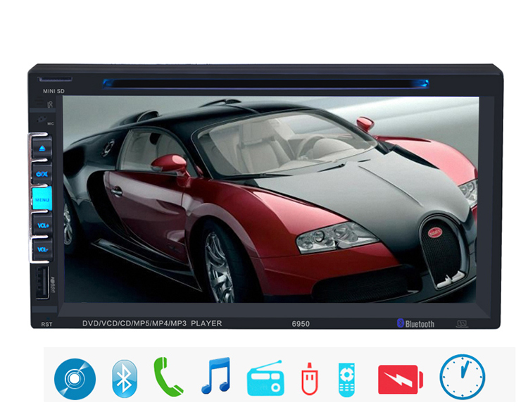 NEW 7'' inch LCD Touch screen car radio DVD CD player BLUETOOTH mp5 audio 1080P movie Support rear view camera 2 din car audio(China (Mainland))