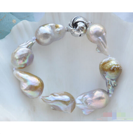 P4095 8 22mm lavender BAROQUE KESHI REBORN PEARL BRACELET @^Noble style Natural Fine jewe FREE SHIPPING<br><br>Aliexpress
