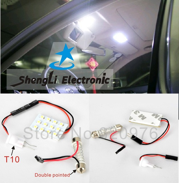 Free shipping car reading Lamp 12 SMD 1210 LED light panel auto car roof lamps with +Double tip and T10 Dome light adapter
