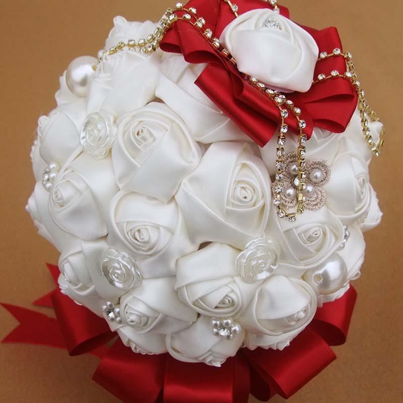 High-grade wedding tool White diy hand bouquet with diamond Silks / satins flowers Mid size 20cm In bulk Free shipping