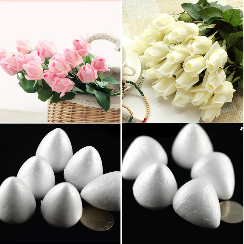 100pcs/lot 3.3cm Wholesale Natural White Foam Rose Bud For Nylon Stocking Flower Accessories(100pcs/lot) Home Decor(China (Mainland))