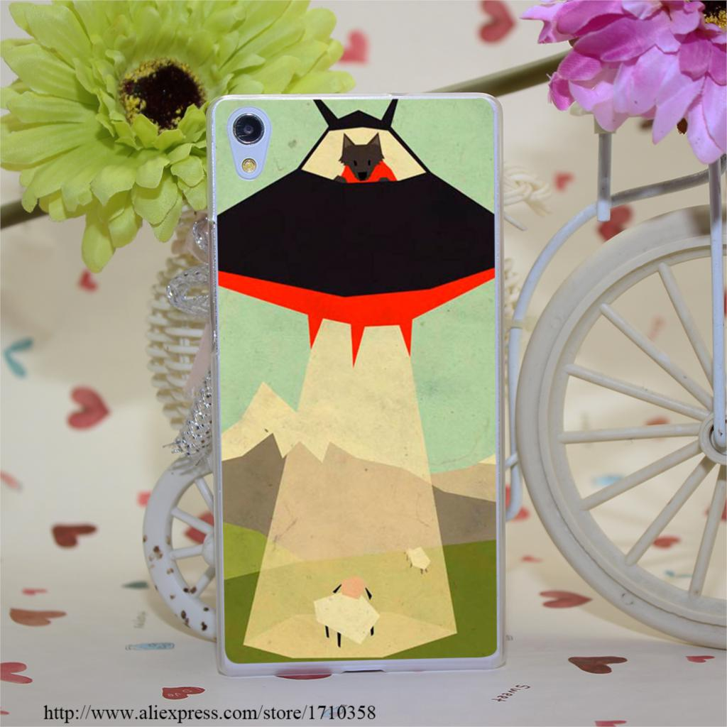 UFO Wolf Print Style Hard Clear Cover Transparent Case for Huawei Ascend P6 P7 P8 P8 lite(China (Mainland))