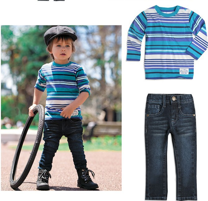 2013 Hot selling children's Clothing Sets children long sleeve t shirt+jeans children set kids two piece suit sets(China (Mainland))
