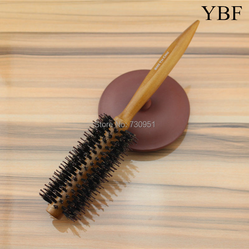 Natural Mane Bristles Wooden handle Roll Hair Brushes professional Antibacterial Heat -resistant round brush antistatic comb(China (Mainland))