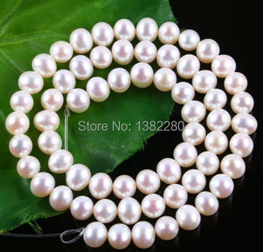 """Free shipping! Wholesale 7-8mm White Akoya Cultured Pearl Loose Beads 15"""" JT6502(China (Mainland))"""