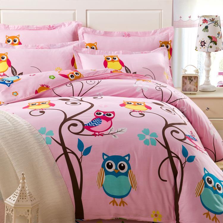 Cute Pink Cartoon Owl Bedding Set Adult Kids Comforter .