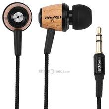 Original AWEI Q9 Super Bass Wooden in Ear Headphones Earphones Headset Fone De Ouvido 3.5mm Jack for Samsung S6 Edge Xiaomi HTC(China (Mainland))