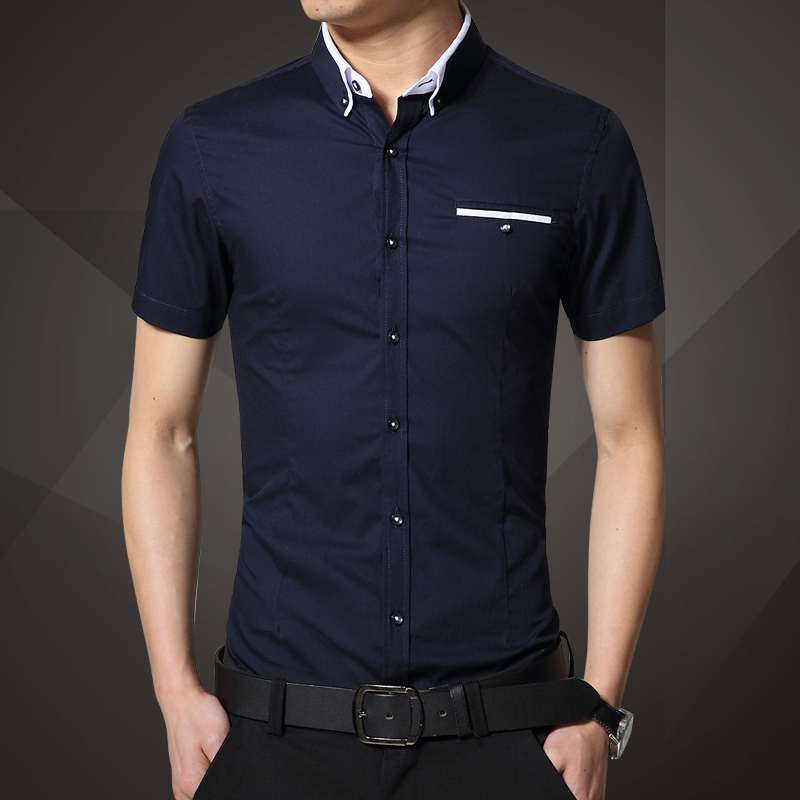 2015 new mens stylish short sleeve shirt slim fit dress for Mens dress shirt sleeve length