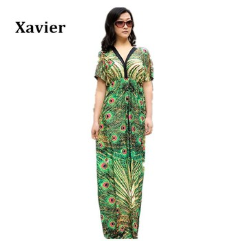 2015 Women Peacock Print Long/Maxi  Summer Casual Dress Plus size women dress XL-6XL Free Shipping