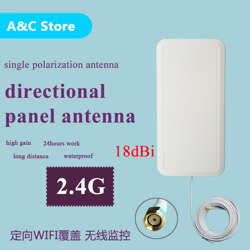 18dBi 2.4g wifi antenna directional single polarization panel antenna RF-SMA-male connector high gain wireless network 2pcs/lot(China (Mainland))