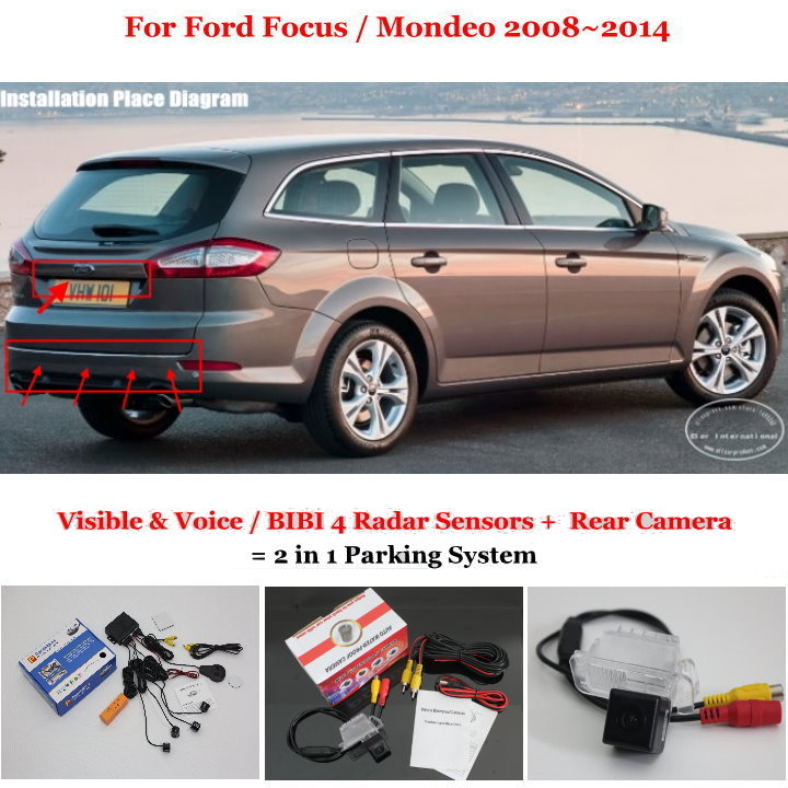 Фотография For Ford Focus / Mondeo 2008~2014 - Car Parking Sensors + Rear View Camera = 2 in 1 Visual / BIBI Alarm Parking System
