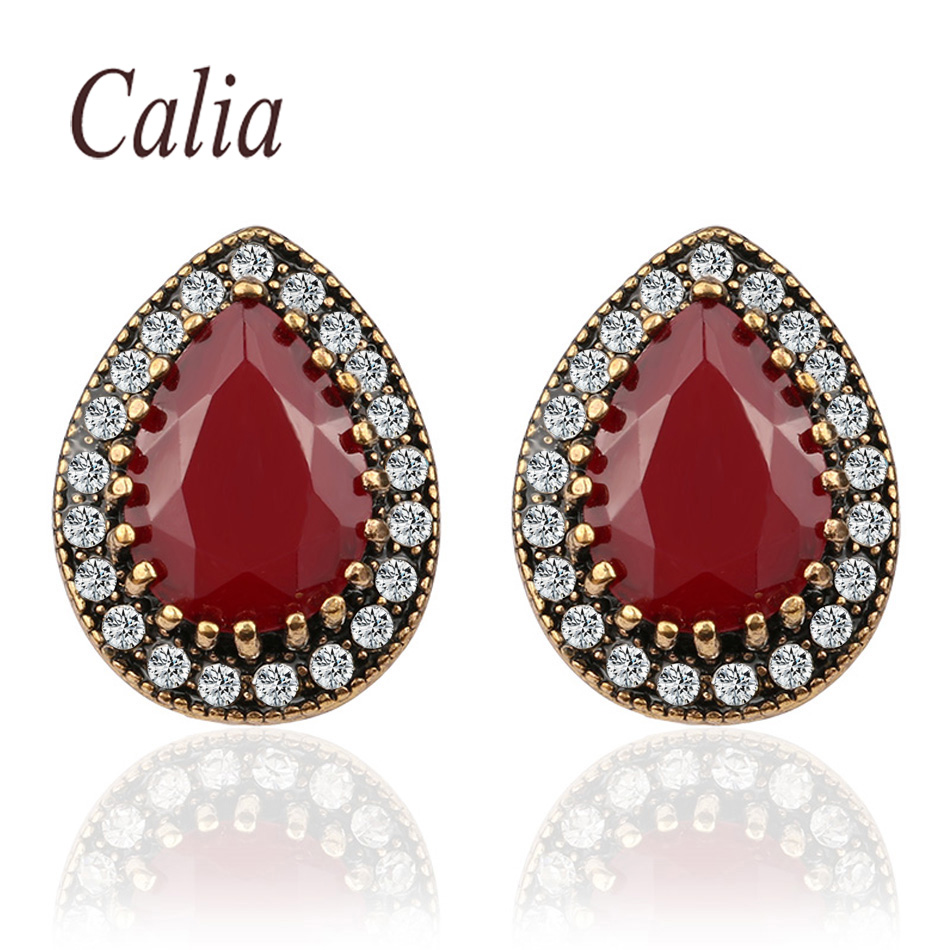Calia Simple Indian Jewelry 2016 Design Fashion Ruby Earrings For Women Water Drop Green Resin Sale Wholesale Jewellery(China (Mainland))