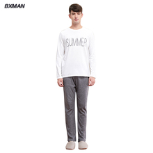 BXMAN Brand Men Pajamas Sets Spring Pajamas 100% Cotton Letter O-Neck Full Length Men Pajama New Pyjama Femme 76(China (Mainland))