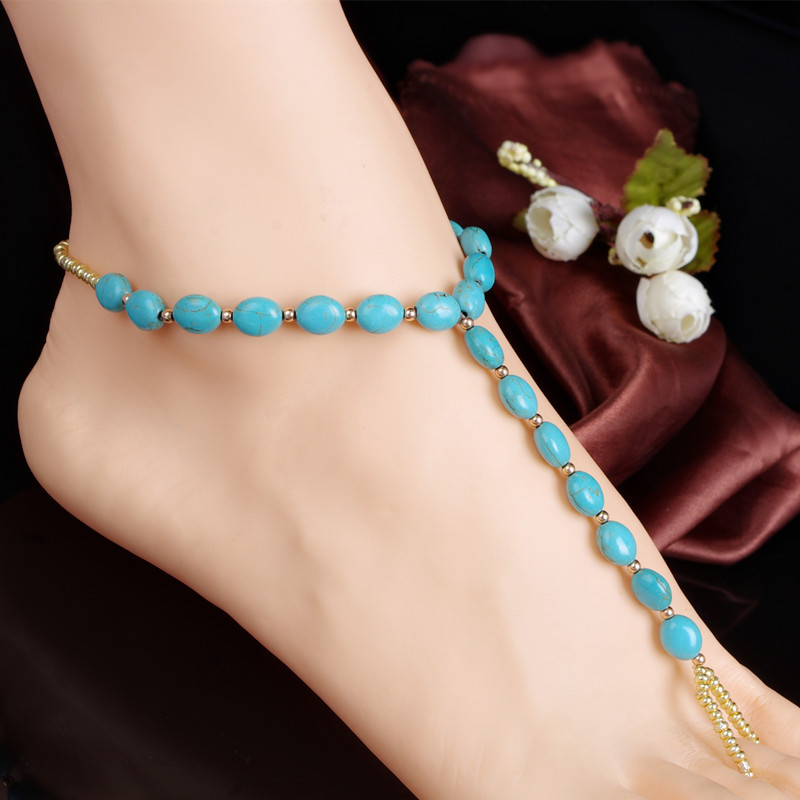 2016 Fashion Flower Barefoot Sandals Foot Jewelry Blue Anklets For Women Vintage Bracelet Bohemian(China (Mainland))