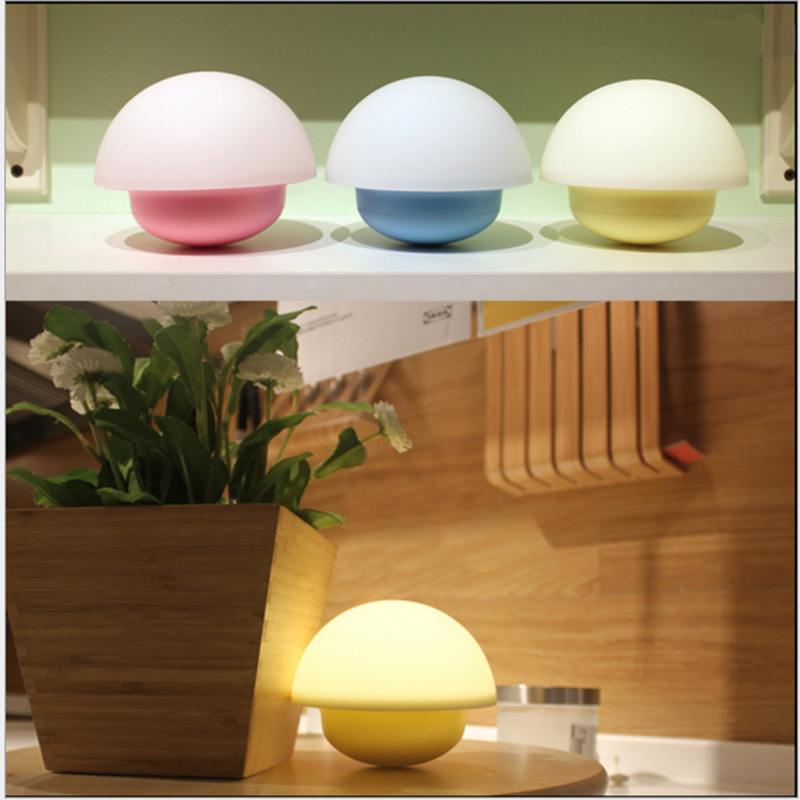 5v LED Mushroom Luminaria Sensor Night Light Novelty Plastic Veilleuse Portable LED Lamp for Travel(China (Mainland))