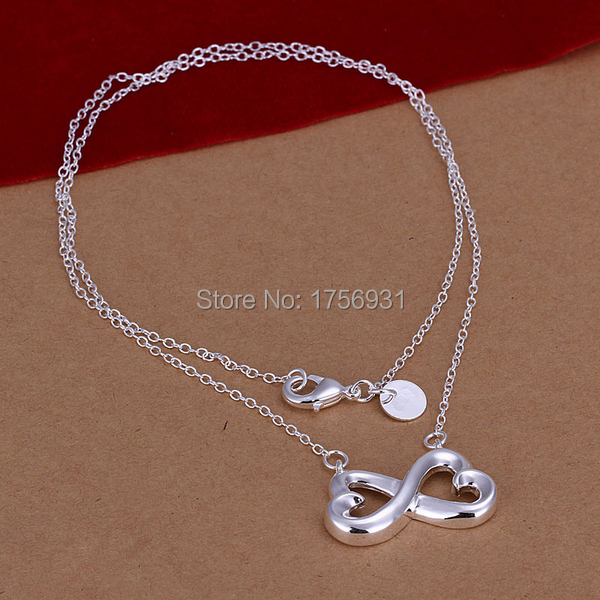 "Sale New style top quality fashion solid 925 sterling silver lady women Luck ""8"" word necklace pendant 18 inch gift box KX148(China (Mainland))"