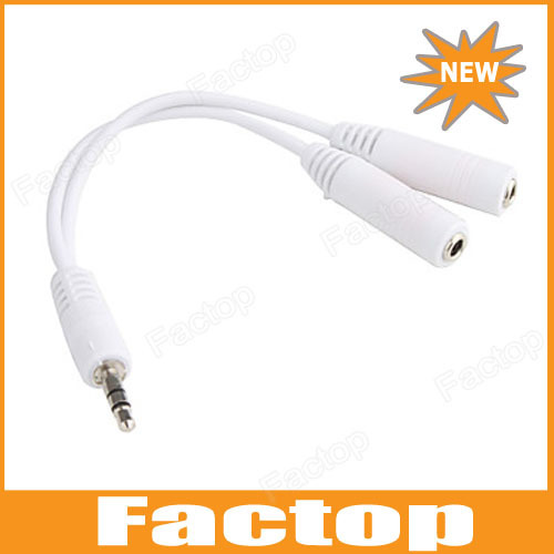 3.5mm Headphone Earphone Y Splitter Adapter Cable Jack, Stereo Audio Jack Splitter Y-Cable White