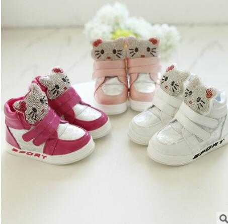 Korean fashion casual leather baby shoes Maotou Rhinestone soft bottom girls fall paragraph high childrens boots shoes<br><br>Aliexpress