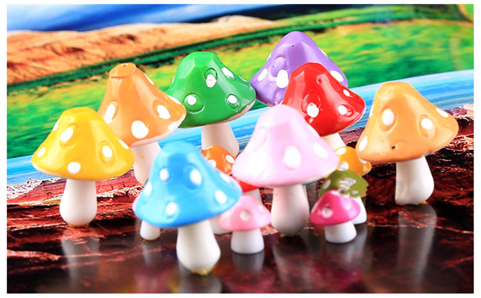 New Style Resin Craft Micro Landscape Decoration Fashion Cute Mini Mushrooms Home Decorative Crafts 8 Colors For House Decor(China (Mainland))