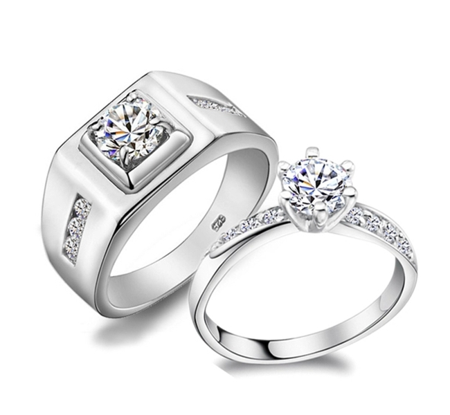 mens and womens couple rings 925 sterling silver jewelry