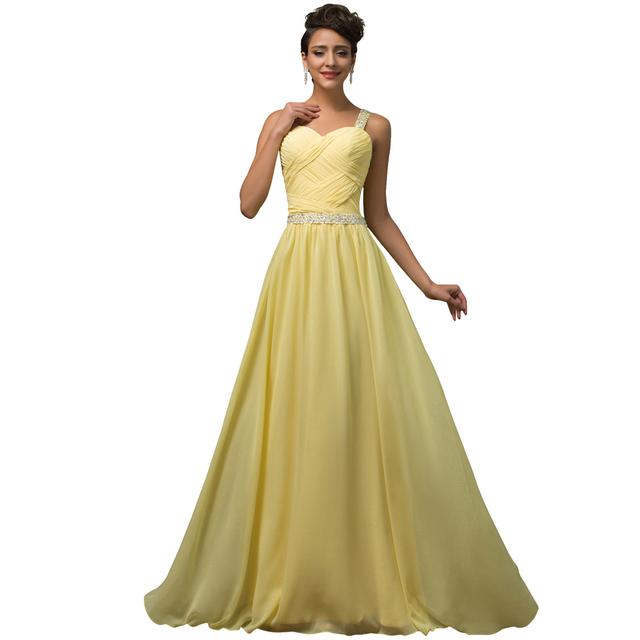 Грейс карин кристалл бисера длинные шифон сексуальные вечерние платья желтый длиной ...