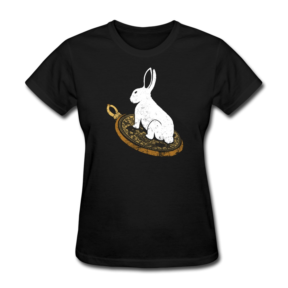 Womens T Shirt Casual Follow the White Rabbit Make Own Round-Neck Women Tee-Shirts(China (Mainland))