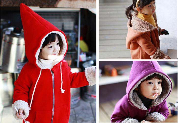New winter children thick warm coat red long sleeve hooded jacket kids warm coat baby girl hooded coat 5pcs/lot