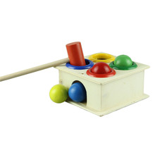 A Stylish 2015 Children cute creative Wooden Knock Ball the Educational Toy Birthday Gift(China (Mainland))