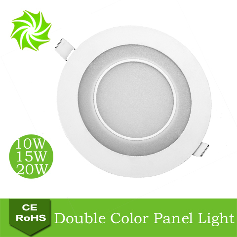 Round White+Yellow 10W 15W 20W LED Double Color Panel Light Kitchen / Bedroom Ultra Bright Integrated LED Ceiling Lamp Lights(China (Mainland))