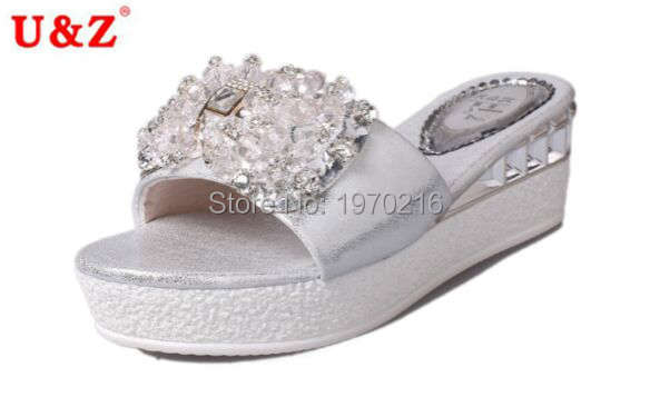 2016 fashion PU leather thick sole slippers crystals Summer sandals Silver/Gold,Lovely Sponge Cake sandals wedges platform shoes(China (Mainland))