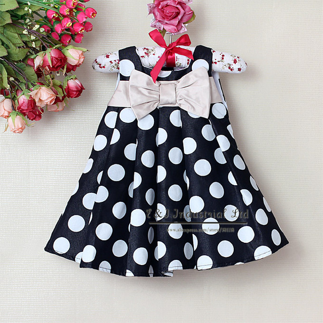 Hot Sellers New Baby Summer Dresses Black With Dot Girls Dress Infant Costume Little Kids Wear Children Clothing  E130105-32